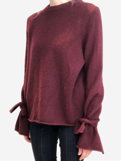 Burgundy oversized cashmere sweater with tie sleeves - size S