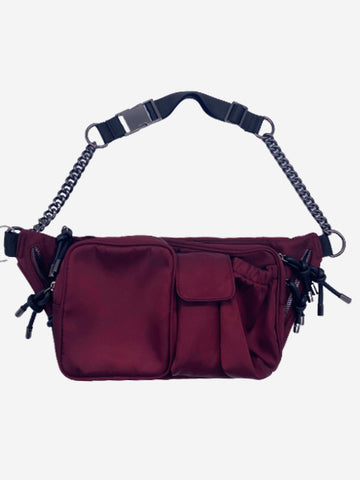 Burgundy utility cross body waist bag