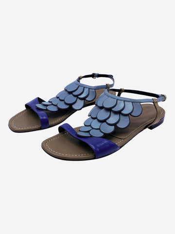 Blue leather scale sandals - size EU 36