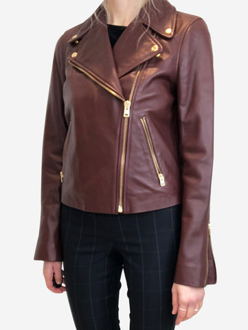 Burgundy leather biker jacket - size US 4