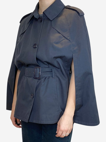 Navy buttoned cape jacket with belt - size UK 12