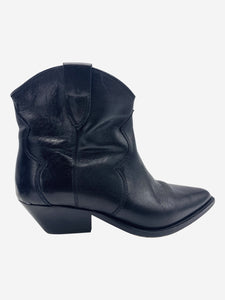 Dewina black leather western ankle boots - size EU 37