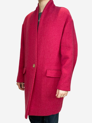 Pink wool single button coat - size UK 12
