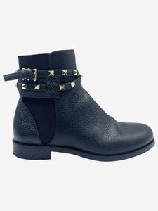 Rockstud black textured leather chelsea boots - size EU 36.5