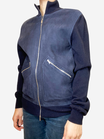 Navy zip up suede jacket with cashmere sleeves - size M