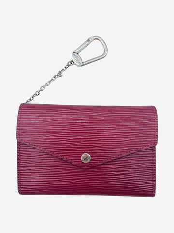 Dark pink Epi leather key pouch