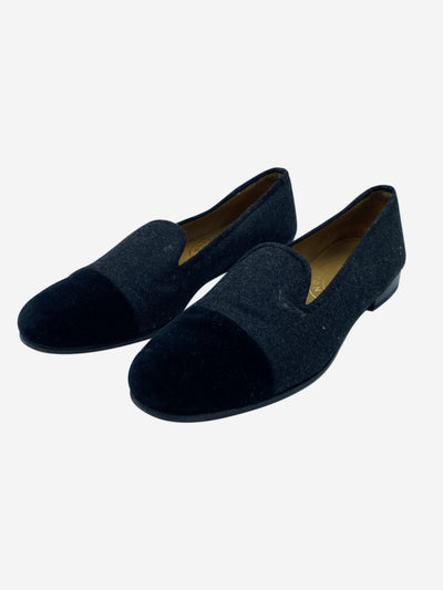 Grey and black velvet and felt loafers - size EU 41