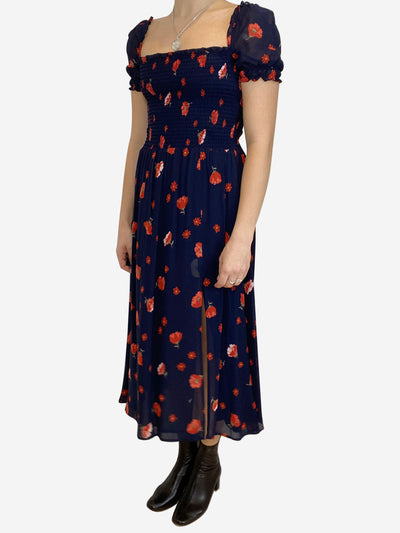Navy and red shirred floral midi dress with slit - size M