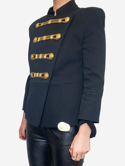 Black and gold military style jacket with 3/4 sleeves- size 10
