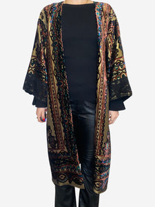 Lurex gold, black and pink paisley duster coat - One size