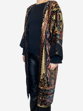 Load image into Gallery viewer, Lurex gold, black and pink paisley duster coat - One size