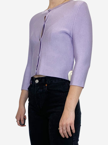 Lilac ribbed cropped cardigan - size S