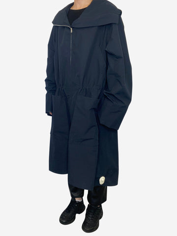 Navy hooded lightweight parka with elasticated waist - size XS