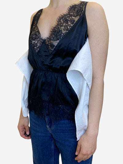 Black lace camisole top with white jersey panel - size UK 14