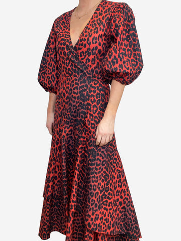 Red & black leopard print maxi dress - size UK 8