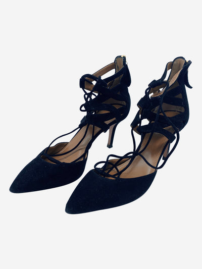 Black pointed lace up heels - size EU 38.5