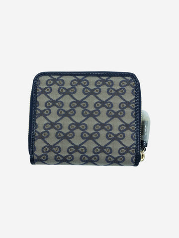 Brown and blue bow logo zipper wallet