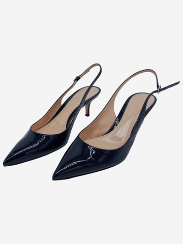 Black patent leather slingback heels- size EU 40.5
