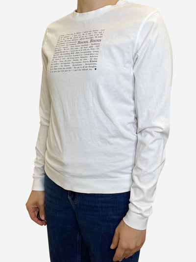 White long sleeve text top - size XS