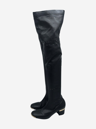 Black over the knee boots with eyelet hole pattern- size EU 38