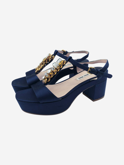 Navy satin t-bar platform sandals with crystal embellishment- size EU 38.5