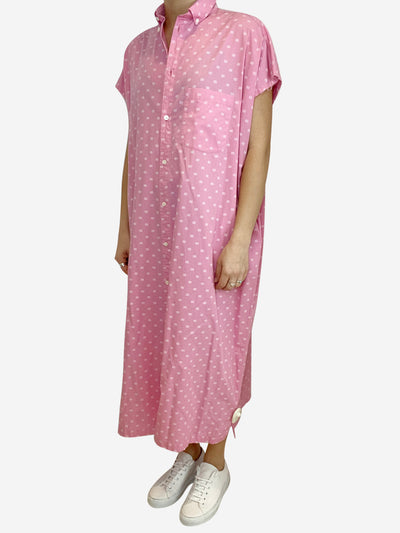 Pink BB logo printed oversized maxi shirt dress - size FR 36