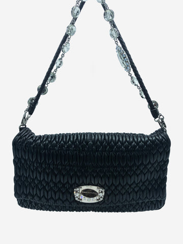 Black quilted large flap bag with white crystal detailing