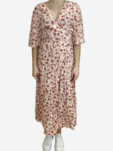 Load image into Gallery viewer, Peach wrap midi dress with red floral print- size UK 14