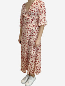 Peach wrap midi dress with red floral print- size UK 14