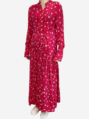 Pink silk print maxi dress with asymmetric waist tie- size S