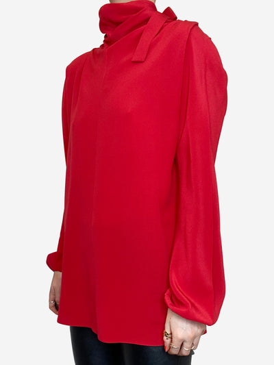 Red silk pussy bow blouse - size IT 40