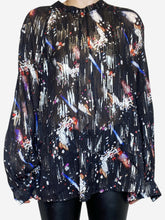 Load image into Gallery viewer, Black, silver and purple lurex graphic print blouse - size M