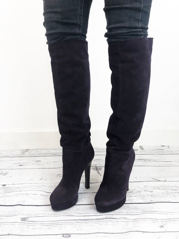 Gianmarco Lorenzi Purple Suede Thigh High Boots Size 4.5 RRP £227