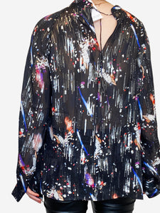 Black, silver and purple lurex graphic print blouse - size M