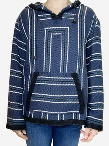 Proenza Schouler Navy baja print tweed hooded sweater - size UK 8