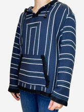 Load image into Gallery viewer, Navy baja print tweed hooded sweater - size UK 8