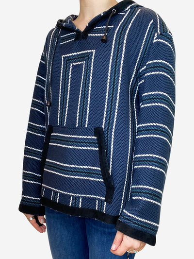 Navy baja print tweed hooded sweater - size UK 8