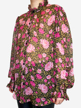 Load image into Gallery viewer, Floral silk sheer blouse with ruffle neck- size 12