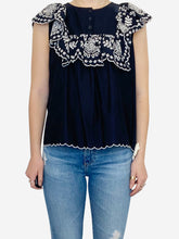Load image into Gallery viewer, Navy sleeveless blouse with white embroidery - size FR 38