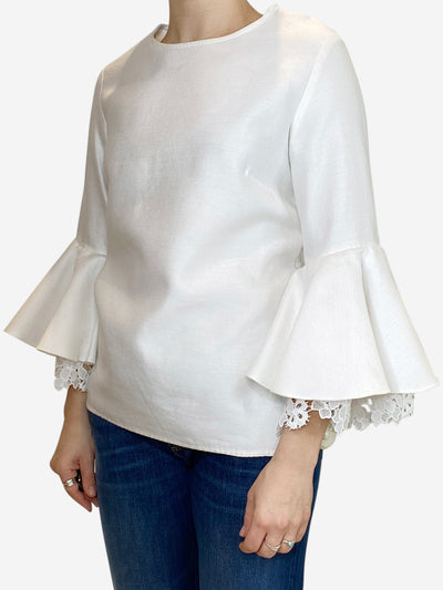 White fluted sleeve top with crochet lace detail - size 10