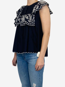 Navy sleeveless blouse with white embroidery - size FR 38