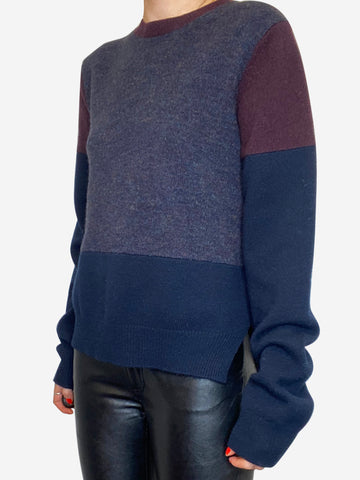 Navy and burgundy block colour sweater- size M