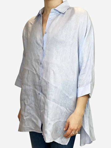 Light blue linen shirt with cropped sleeves - size UK 10