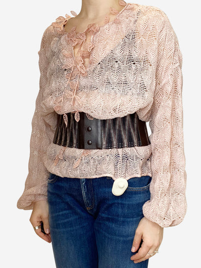 Pink open knit top with brown striped belt - size M