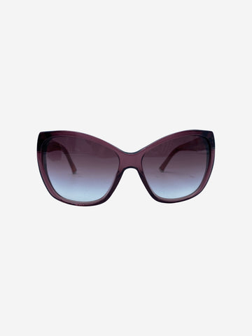 Red cat eye sunglasses with floral arm