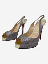 Load image into Gallery viewer, Prive gold & multicolour glitter peep toe slingback heels - size EU 38.5