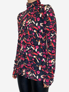 Dorothee Schumacher Black & Pink long sleeve turtle neck technofabric top - size M
