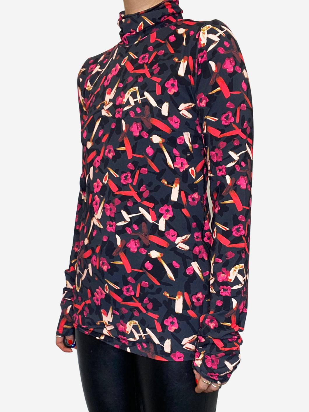 Black & Pink long sleeve turtle neck technofabric top - size M