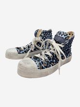 Load image into Gallery viewer, Blue & brown leopard print studded trainers - size EU 39