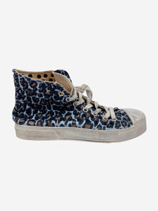 Gienchi Blue & brown leopard print studded trainers - size EU 39